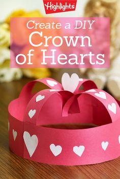 Valentine Crown of Hearts Craft für Kinder - Valentine's Days / Valentinstag Preschool Valentine Crafts, Kinder Valentines, Valentines Day Party, Diy Valentine, Printable Valentine, Homemade Valentines, Valentine Wreath, Valentinstag Party, Valentine's Day Crafts For Kids