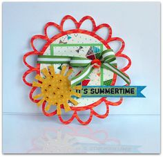 For this card I used my newest favorite Cricut Cart, Elegant Edges to cut the shape of the card with My Mind's Eye Go Fly a Kit paper and them embellished with the 100 Days of Summer stickers. I really like the way it turned out!