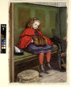 """My Second Sermon"" by John Everett Millais (1864) at the Victoria and Albert Museum, London - This is the watercolour version of an oil painting of the same title, showing Millais' daughter falling asleep in church. This was meant as a sequel to a painting titled ""My First Sermon"" where the girl was shown sitting in rapt attention, and it was Millais' gentle reminder to the clergy to keep their preaching brief, interesting and to the point."