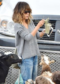 Low-key chic: The  star cut a content and relaxed figure in denim boyfriend jeans and a sl...