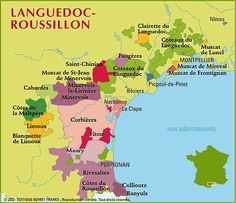 Map of Languedoc-Roussillon. Some of the best values in French wine are in these hills and valleys.