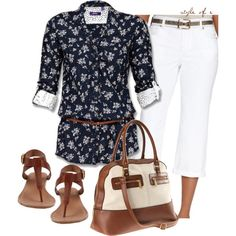 Floral Belted Button Up, created by styleofe on Polyvore
