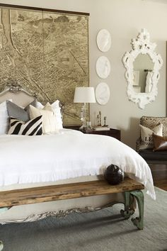 Gorgeous eclectic bedroom design with vintage map wall art, French headboard, vintage wood bench. ~~ LOVE the bed! Dream Bedroom, Home Bedroom, Master Bedroom, Map Bedroom, Pretty Bedroom, Bedroom Ideas, Bedroom Designs, Bedroom Photos, Bedroom Inspiration