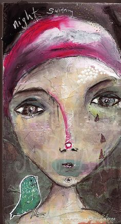 acrylic pen and ink on wood Night Swimming, Face Art, Painting & Drawing, Faces, Paintings, Ink, Drawings, Artist, Painting Art