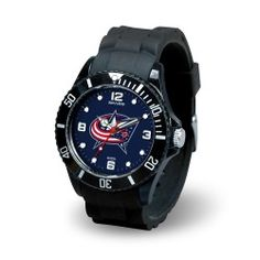 The NHL Spirit Series watch from Sparo features a rubber sports strap with sports buckle, a composite case with ratcheting sport elapsed time bezel and a stainless steel caseback. Made with an acrylic crystal and precision quartz movement, these watches have silver and fluorescent hands and are shock and water resistant up to 3 meters.  Each watch shows off the team's official colors and logo and have a limited lifetime warranty from the manufacture. - A quality product from the licenced US…