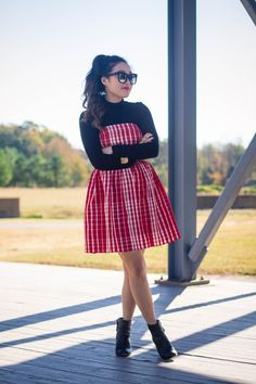 { style tip: pair a gingham strapless dress over a black turtleneck for a #holidaylook // @vineyardvines }