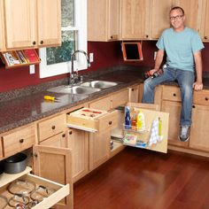 hese 10 simple organization tips show how to turn empty space in kitchen cabinets and drawers into useful storage for supplies and utensils.