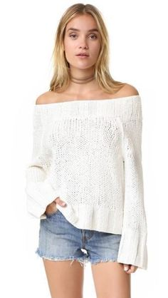 FREE PEOPLE Beachy Slouch Sweater in Ivory Large $108 FTC #4468