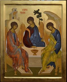 The Church has many different depictions of the Holy Trinity. But the icon which defines the very essence of Trinity Day is invariably the one which shows the Trinity in the form of three angels. Byzantine Icons, Byzantine Art, Trinidad, Religious Icons, Art Icon, Sgraffito, Traditional Paintings, Orthodox Icons, Medieval Art