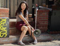 496475f4a9 Naomi Ko  love the sneakers! gray   burgundy Dear White