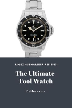 A few characteristics of the Rolex Submariner Ref 5513 are solid link oyster bracelet and the infamous gilt glossy dials.