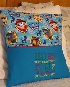 "Reading Pillow Pocket Paw Patrol Rescue Pillow Pocket Pillow Toddlers Boys Bedroom Decor ""Read Me A Story"" Travel Pillow Storybook Pillow by OliversNursery on Etsy"