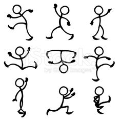 Stick Figure People Dance royalty-free stock vector art