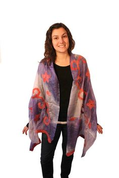 Crafted from Merino Wool and Handspun Silk, Felted Silk Scarves are made exclusively from natural fibers.Silk and Wool are felted into a scarf which fee. Silk Scarves, Merino Wool, Frost, Kimono Top, Elegant, Collection, Tops, Women, Fashion