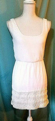 0d4e465dd42 Details about LILY ROSE Womens Summer Dress Size XS White Sleeveless Lace  Trim Party Sundress