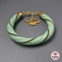 Wednesday Workshop: subtle stripes in this bead-crochet bracelet by Koala Handmade Jewelry.