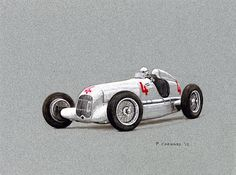 """Mercedes-Benz W25"" that was driven to victory by Luigi Fagioli in the 1935 Grand Prix de Monaco (by Paul Chenard, pen, paint markers and markers on gray archival stock, size 30.5cm x 22.9cm)"