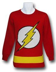 Flash Symbol Red Sweater w/Yellow Stripe