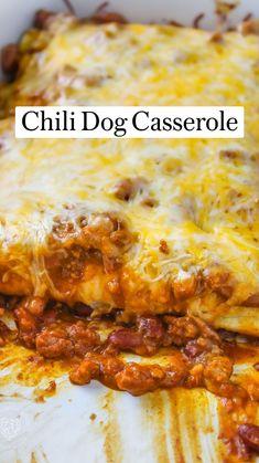 Meatball Sub Casserole, Chili Dog Casserole, Casserole Recipes, Enchilada Casserole, Casserole Dishes, Hot Dog Recipes, Beef Recipes, Cooking Recipes, Hamburger Recipes