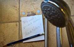 """AquaNotes! awesome idea!  """" No more great ideas down the drain """""""
