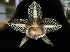 Antique Brooch Orchid Cannetille Filigree French 800 Silver Lace Metal Work Brooch
