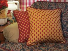 French Country Pillow Cover, Red and Yellow Pillow, Decorative Throw Pillow, High-End Reversible Fabric, Cushion, 18 Accent Pillow via Etsy