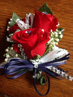 Red roses corsages n boutonnière set