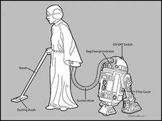 Tshirt StarWars Geek – Leia la ménagère, R2D2 l'aspirateur