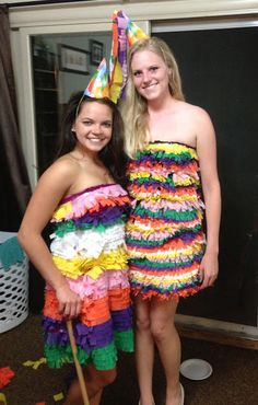 Quick and easy to make! Perfect for Halloween or ABC (anything but clothes) parties! Abc Party Costumes, Pinata Halloween Costume, Unique Halloween Costumes, Halloween Party, Costume Ideas, Anything But Clothes Party, Cruise Party, Recycled Dress, Fancy Dress