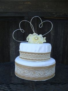 Two Hearts Wire Cake Topper. Wire Wedding by JVCountryCreations