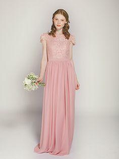 Elegant dusty rose long lace bridesmaid dress with chiffon skirt from Stylish Wedd