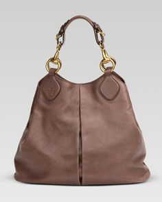 Beautiful!!!! ❤Soft Icon Leather Tote, Pink-Tan by Gucci at Neiman Marcus.