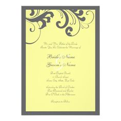 DealsGray and Yellow Swirls Frame Wedding InvitationYes I can say you are on right site we just collected best shopping store that have