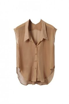 Sleeveless Lapel Camel Chiffon Shirt [NCSHJ0133] - $30.99 : - StyleSays