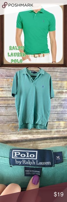 Polo By Ralph Lauren Mint Green Men's Polo Size M Mint green Ralph Lauren polo. Size M. In good used condition normal wear and has little hole by tag as seen in photo. 29 inches long. 21 inches arm pit to arm pit without stretching material.   Be sure to read measurements.   All Offers Are Considered Don't Be Shy!   No Trades   15% OFF Bundles   Because of lighting colors may vary slightly Polo by Ralph Lauren Shirts Polos