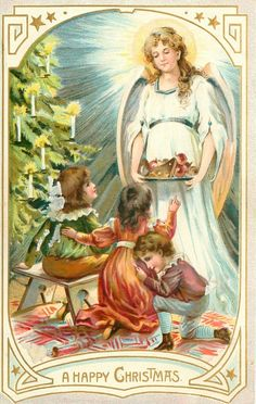 A HAPPY CHRISTMAS, lovely vintage postcard, 1907 http://www.pinterest.com/celiasalashered/navidad/
