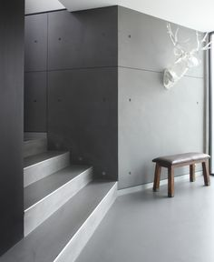 """Livingetc magazinepolished cement floor: impressive minimal staircase, just like in the Barragan stylePolished cement floor with river stones as a """"seam"""".Polished cement floor with river stones as a """"seam"""". Polished Cement Floors, Concrete Floors, Plywood Floors, Concrete Houses, Concrete Lamp, Stained Concrete, Concrete Countertops, Laminate Flooring, Precast Concrete Panels"""