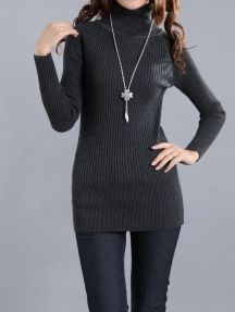 Grey Ladies Solid Color Stretch Warm Bodycon Knitted Sweater