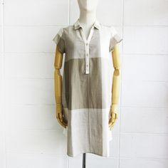 Check Pattern Short Sleeve Shirt Dresses Botanical Dyed Cotton Green Color-www.tanbagshop.com
