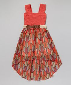 Another great find on #zulily! Coral Chevron Belted Hi-Low Dress by Just Kids #zulilyfinds for my cousins wedding! LOVE IT SO MUCH!!!!