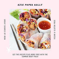 Yum Yum! These rice paper rolls in our Summer Ready 4 Week Program would suit as a perfect quick snack to munch on! . Don't forget that you can get our Summer Ready 4 Week Program FREE when purchasing the Summer Body Pack!  . www.uniquemuscle.com.au Healthy Eating Habits, Healthy Tips, Gluten Free Recipes, Vegan Recipes, Rice Paper Rolls, Macro Meals, Quick Snacks, Workout Guide, Summer Body