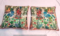 Set Of 2 Pc Decorative cushion cover , Handmade with stunning Pillow Cover Indian Cushion Cover, Frida Khalo Cushion Cover High Quality Decorative Cushions, Decorative Items, Frida Kahlo Fabric, Monogram Bedding, Cotton Pillow, Cotton Throws, Cotton Fabric, Link Art, Fabric Remnants