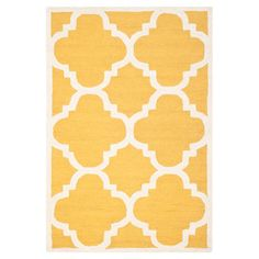 Golden yellow Moroccan lattice motif rug