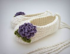 Crochet Baby Ballet Booties - sweet, stylish baby booties that wont slip off!. Crocheted using quality Pima Cotton yarns, finished with crochet flowers