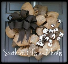 Burlap Wreath Rustic Wreath Cotton Wreath by SouthernThrills