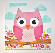 """REDUCED 12"""" x 12"""" Pink Owl Painting SALE. $17.00, via Etsy."""