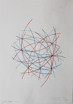 François Morellet, 1 2 3 4 5 blue, 6 7 8 9 0 red on ArtStack #francois-morellet #art