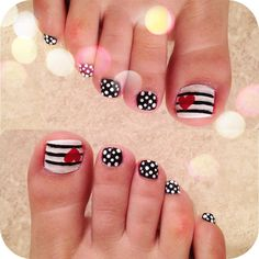 Love my Pedicure nail design. Stripes, polka dots, hearts, black & white. #nails #pedi #beauty #toes #design #love