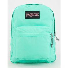JanSport SuperBreak Backpack ($41) ❤ liked on Polyvore featuring bags, backpacks, jansport backpack, green backpack, jansport bags, padded bag and jansport