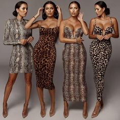 There are 4 tips to buy dress. Animal Print Bodycon Dresses, Printed Bridesmaid Dresses, Fashion 101, Womens Fashion, Evening Outfits, Classy Dress, Buy Dress, Chic Outfits, Beautiful Dresses